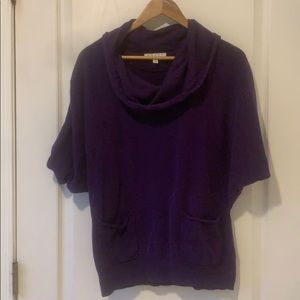 CHAUS Nordstrom purple cowl short sleeve sweater L